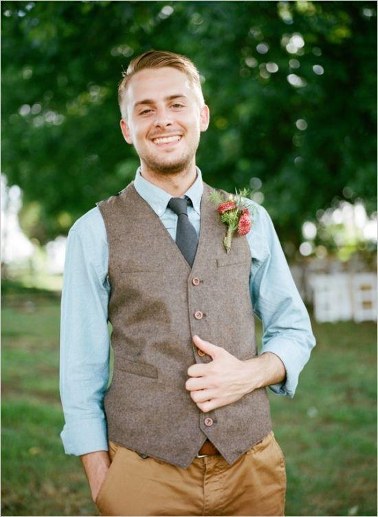 chambray shirt vest and tie for the groom #groom #groomlook #weddingchicks http://www.weddingchicks.com/2014/03/13/homespun-antique-farm-wedding/