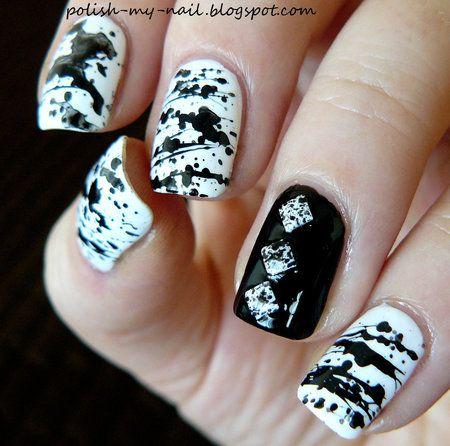Black and White Splatter Nails #nailart #nails #polish #mani - Share/explore more nail looks at bellashoot.com!