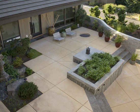 Contemporary Spaces Concrete Poured Stepping Stones Patio