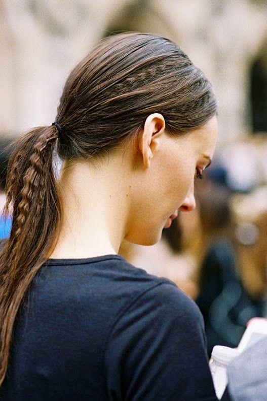 Crimped hair inspiration via American model Amanada Murphy, after Stella McCartney, Paris,...