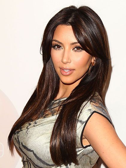 Kim Kardashian | Dark Brown Hair with Highlights | Hair ...