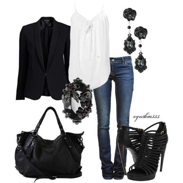 Could I love that brooch more? I think not. Hot shoes, too.: Outfits, Fashion, Casual Outfit, Bad Girl, Style, Black And White, Clothes, Black White