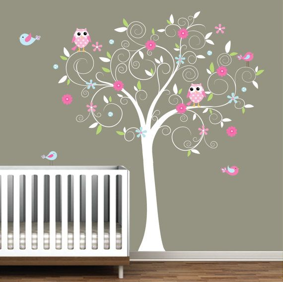 heres where to get it: Nursery Idea, Babies, Kids Room, Owl, Baby Girl, Trees, Baby Room, Vinyl Wall Decals