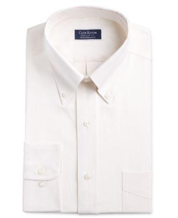 Club Room Men's Classic/Regular-Fit Stretch Oxford Solid Dress Shirt, Created for Macy's – Ecru