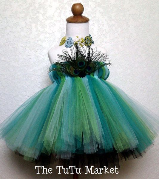 """The """"Peacock Couture"""" Empire TuTu Dress is the first of it's kind at The TuTu Market. This beautiful dress can be used for a wedding as a flower girl"""
