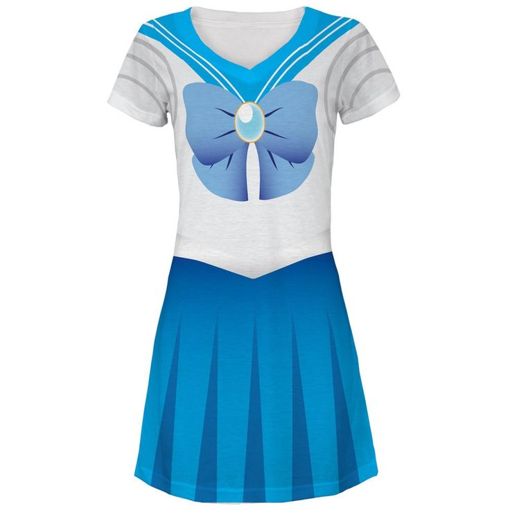 Anime Mercury Sailor Costume All Over Juniors V-Neck Dress