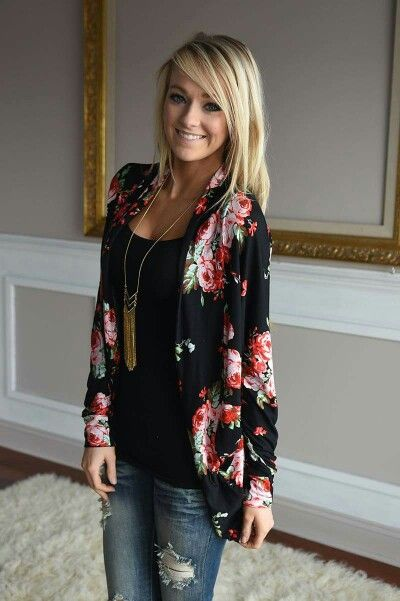 Dear Stylist: I usually wear a printed top with a solid cardigan over it, but I love the idea of switching it up! This looks great with jeans too.