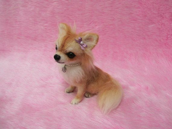 Needle Felted Long Coat Chihuahua: Cute Miniature Wool Dog