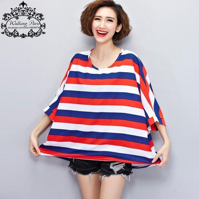 Women Summer Style T-Shirt Navy Striped Printing Casual Tops&Tees Female Short Tumblr Kawaii Batwing Sleeve Plus Size T-Shirt