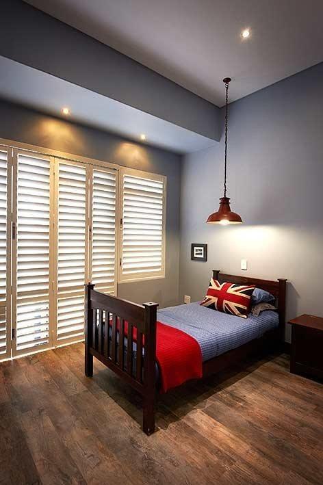A Steelworkers pendant light in kiddies bedroom with downlights.. Nice idea!