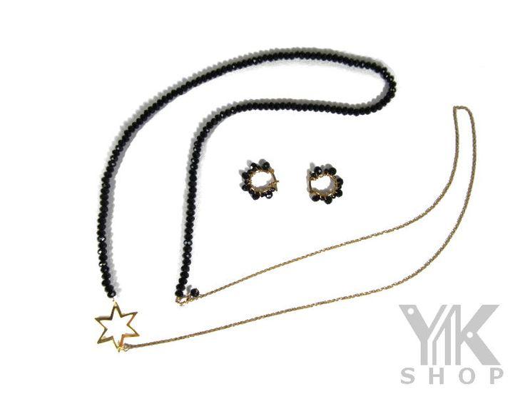 Una estrella dorada para ti. Juego de Collar y aretes. Entrega Inmediata - Envío Gratis