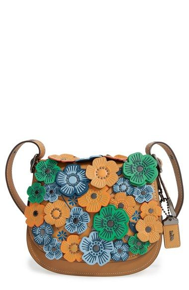 COACH 1941 | '23' Flower Appliqué Leather Saddle Bag in Dark Camel available at #Nordstrom