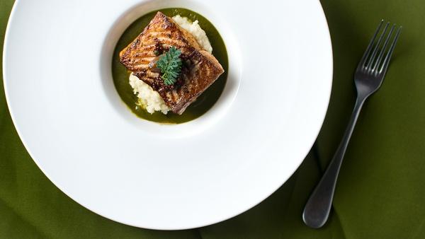 Steelhead or salmon with sorrel sauce. Recipe on http://honest-food.net