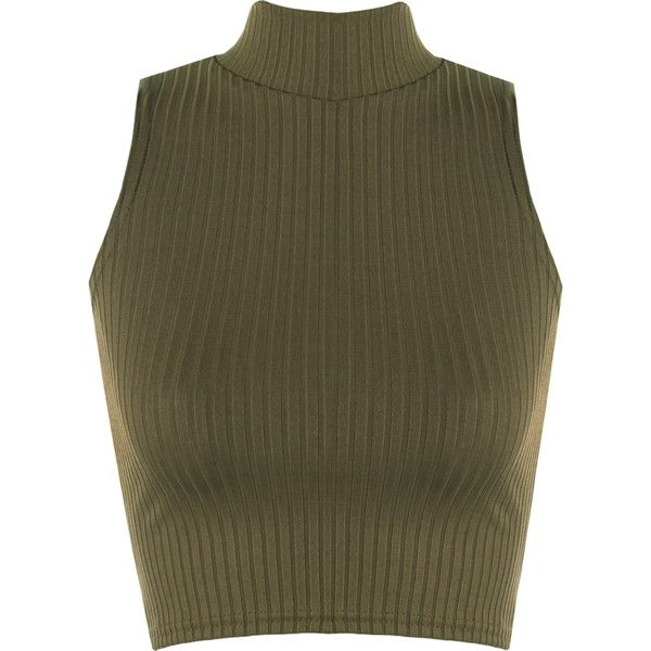 Luann Rib Turtle Neck Crop Top ($14) ❤ liked on Polyvore featuring tops, sweaters, crop tops, green, sleeveless sweater, brown turtleneck, ribbed sweater, turtle neck sweater and turtleneck crop top