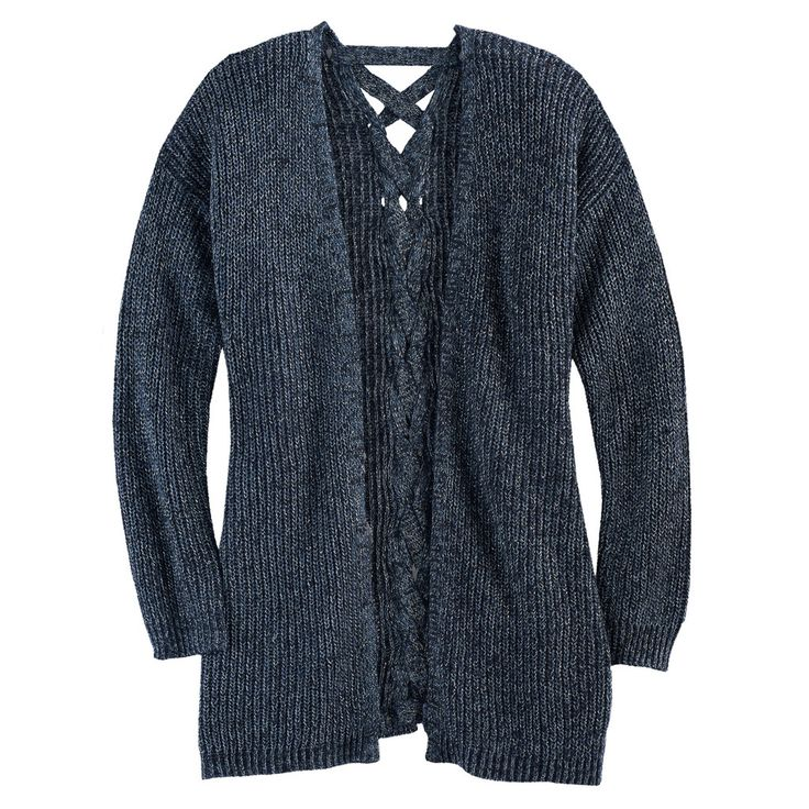 Girls 7-16 & Plus Size Cloud Chaser Lace-Up Back Cardigan Sweater, Size: Xxl Plus, Med Blue