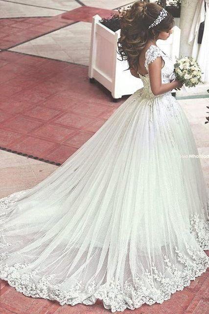 Nova romântico Tulle princesa vestido de noiva 2015 de contas rendas apliques alças Mhamad marfim vestidos de casamento vestidos de noiva