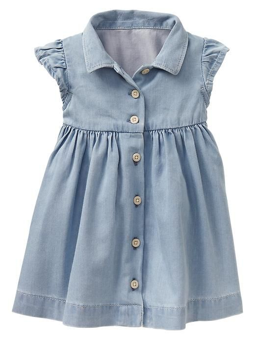 Photo for inspiration for repurposing a dress shirt. Made it! Used hubbie's dress shirt but made it sleeveless.: Gap Denim, Dress Shirt, Denim Shirtdress, Denim Shirts, Baby Girl, Baby Dresses, Baby Gap Girl, Kid