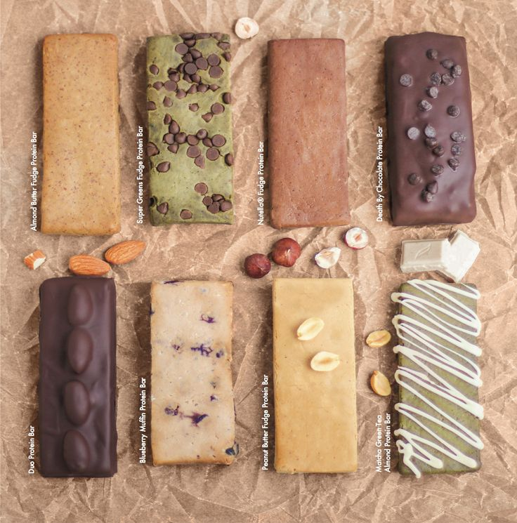 Another little sample of 8 of the protein bars from the #DIYProteinBars Cookbook! Here we have: Almond Butter Fudge, Super Greens Fudge, Nutella Fudge, Death By Chocolate, Duo (an Almond Joy knockoff!), Blueberry Muffin, Peanut Butter Fudge and Matcha Green Tea Almond!