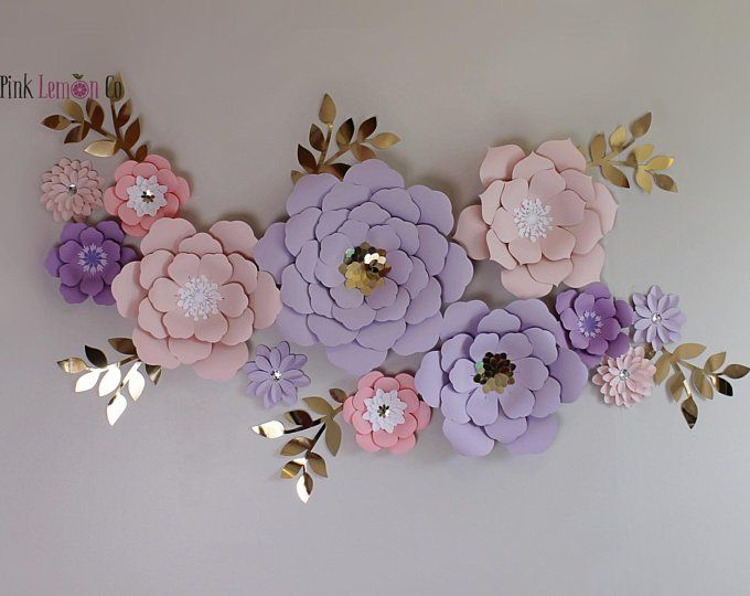 Mauve And Blush Tones 10 Pieces Paper Flower Set Nursery Wall