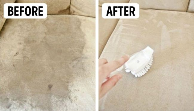 9.microfiber sofa cover -  A sponge,  A bottle of isopropyl alcohol,  A brush,  Baking soda How to use it: Put some isopropyl alcohol on a sponge and rub dirty places. Use a brush to take care of microfibers. To eliminate funky odor, put some baking soda on as well.