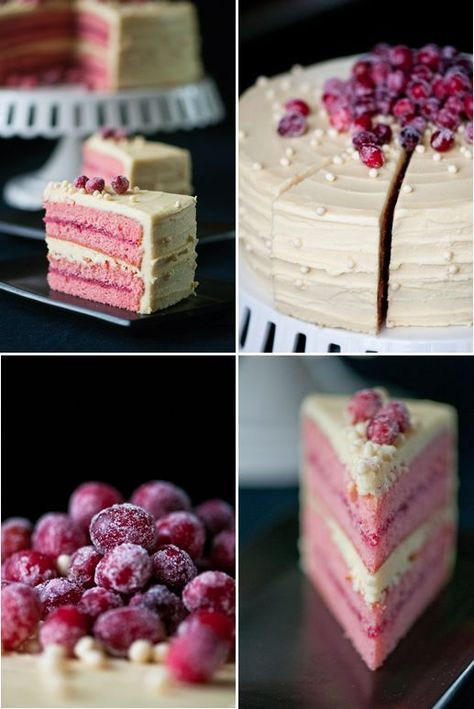 Made this for New Year's Eve.  Although it was delicious and not overly sweet, your cake will not be that pink unless you use food dye.  I used 1/2 a cup of cranberry puree and it still turned white.  Frosting is to die for.