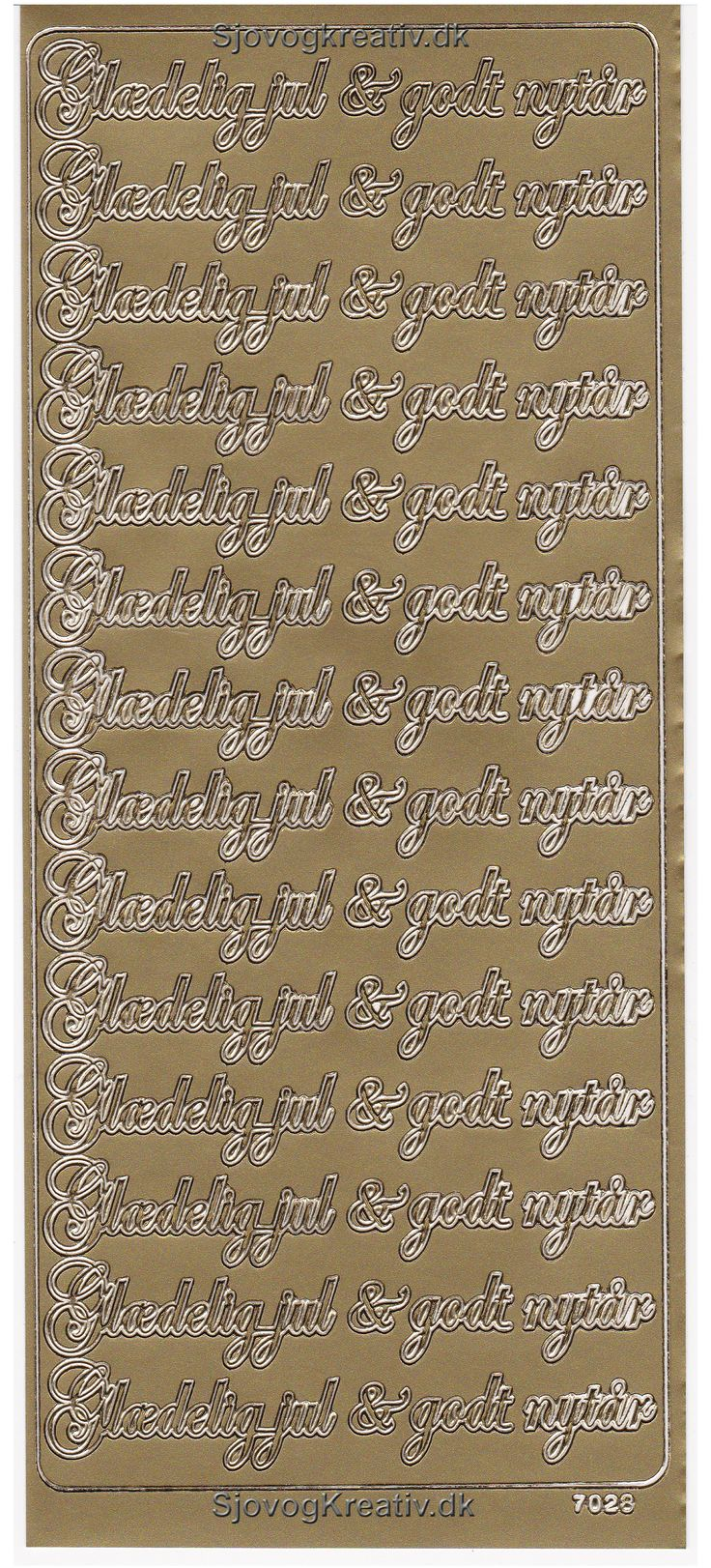 Guld farvet stickers ark med glædelig jul og godt nytår til kort og pynt.