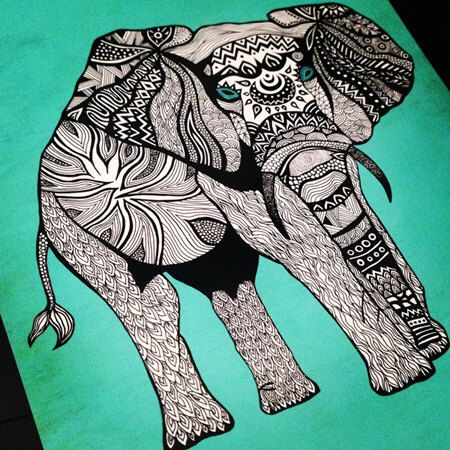 Tribal Elephant Art Print – 11 x 14 Poster in Turquoise, Black & White by PomGraphicDesign on Etsy https://www.etsy.com/listing/151815307/tribal-elephant-art-print-11-x-14-poster