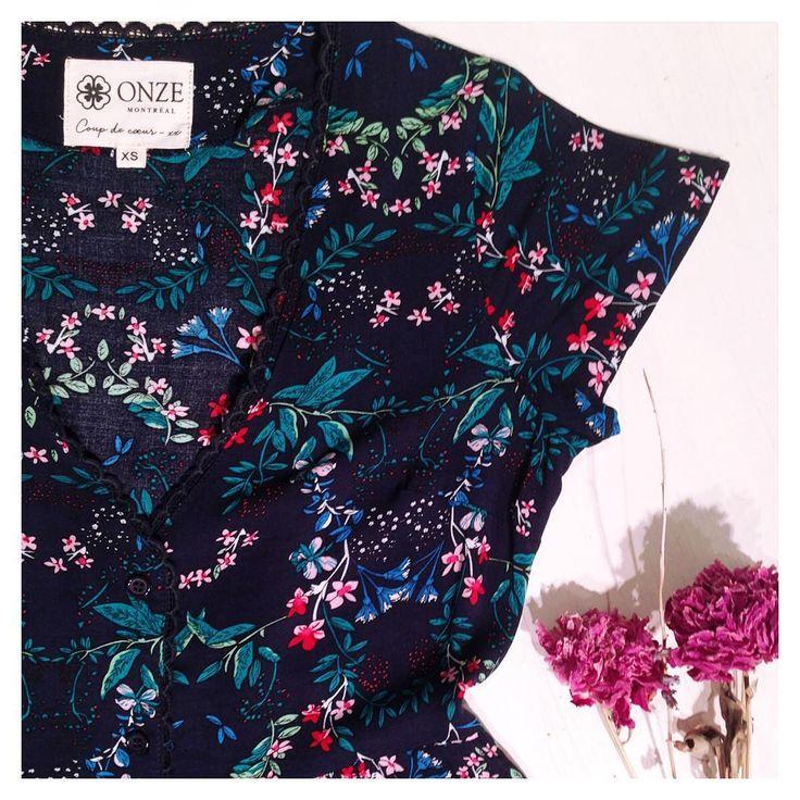Robe bleue Nina - Robe à fleurs - Onze Montreal