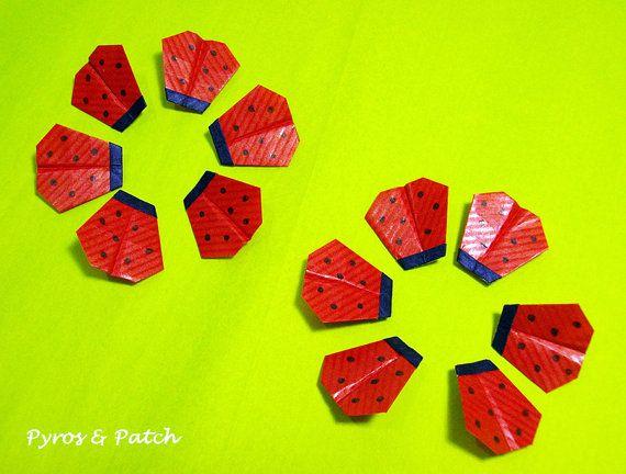 Set di 12 Coccinelle 1 origami tag decorazione di PyrosePatch