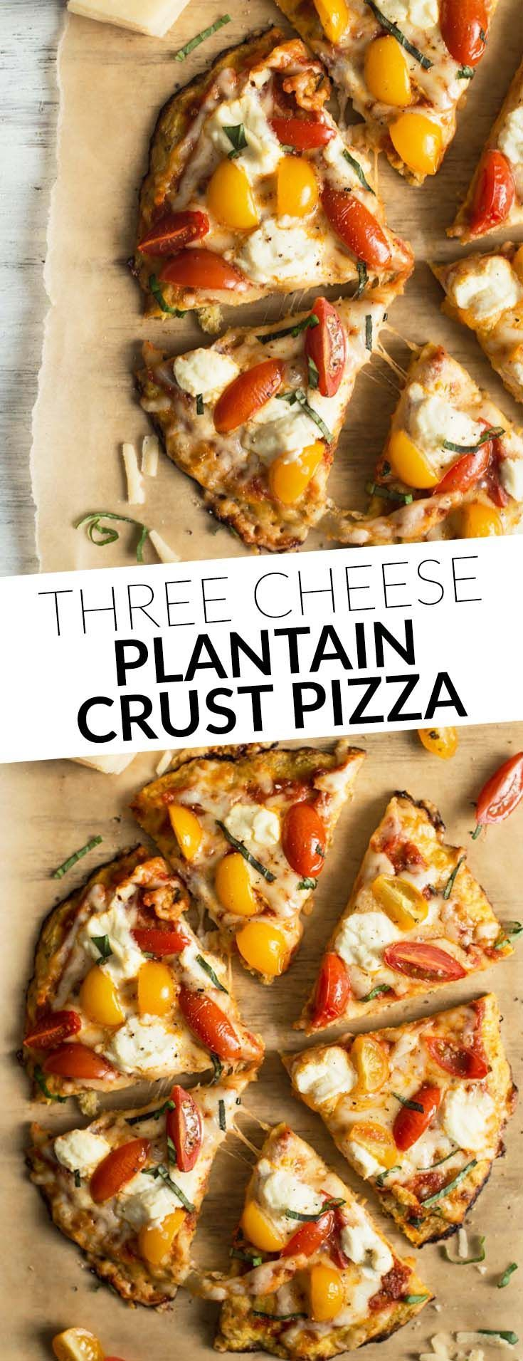 Three Cheese Plantain Crust Pizza - easy, gluten-free pizza ready in 30 minutes! by /healthynibs/