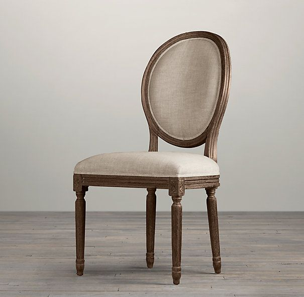 Vintage French Round Upholstered Side Chair | Fabric Arm & Side Chairs | Restoration Hardware
