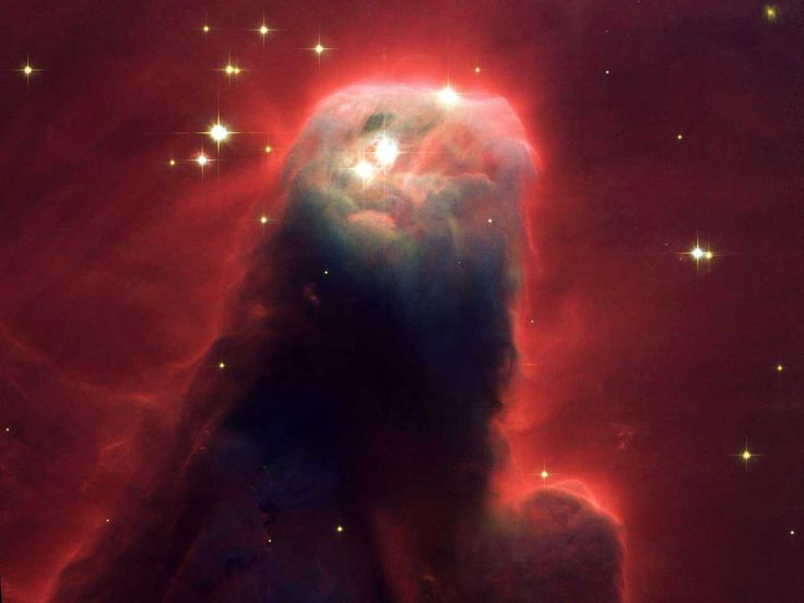 This monstrous pillar resides in a turbulent star-forming region. This picture shows the upper 2.5 light-years of the nebula, a height that equals 23 million round trips to the moon.