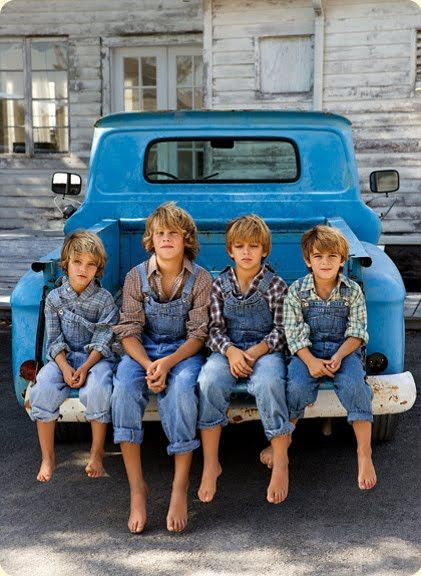 Love the boys in their blue jeans and overalls! Adorable. Think I can see my two boys in this pic!