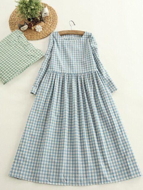 Mori Girl O-neck Mid-calf Plaid Drawstring Cotton Rustic Long Dress