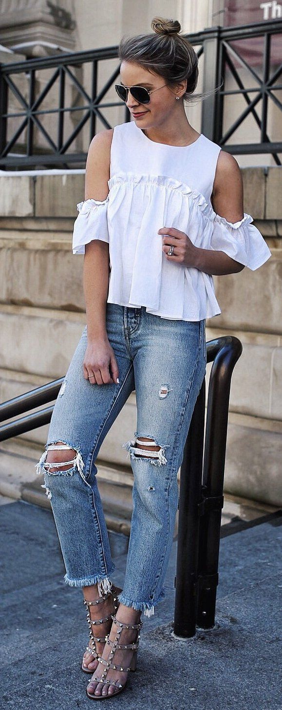 White Open Shoulder Top | ruffles | light wash | Ripped Jeans | Valentino Studded Sandals | casual | women's outfit ideas | high heels
