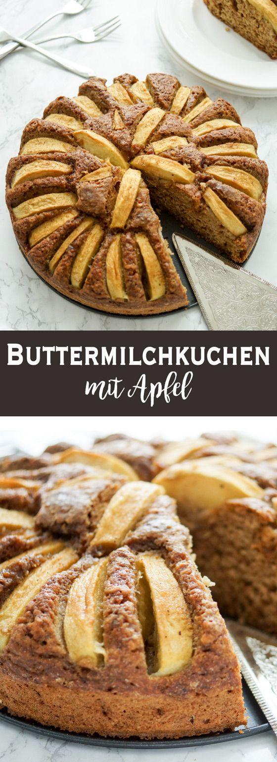 Buttermilchkuchen mit Apfel - Buttermilchkuchen Grundrezept mit Heidelbeeren. Ein einfaches Grundrezept für einen Buttermilchkuchen. Verglichen mit anderen Kuchen kann sich dieses Exemplar durchaus als fettarm und zuckerarm bezeichnen lassen. Der Kuchen ist auch sehr gut für einen Brunch oder als Snack für Zwischendurch geeignet. Low-Fat, Zuckerarm.