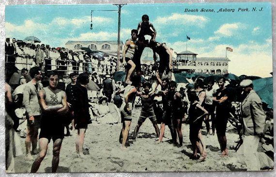 Asbury Park NJ Beach Scene 1910 Color Postcard, Men Create Human Pyramid, New Jersey, Shop-wide sale at OakwoodView, $6.00