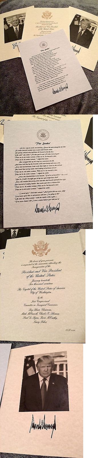donald trump: Official Donald Trump The Snake Poem 2017 Inauguration Invitation And Photo Signed -> BUY IT NOW ONLY: $10 on eBay!