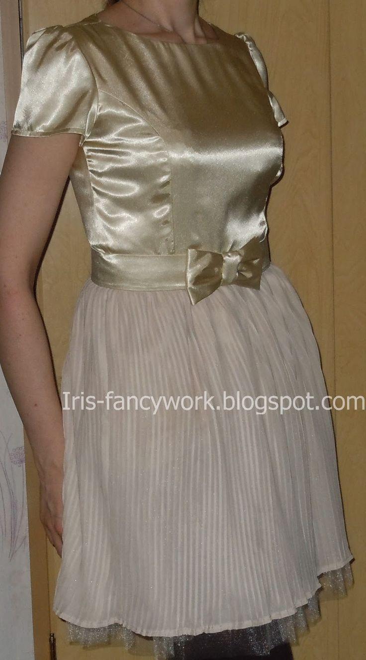 My Fancywork Blog: Светло-бежевое комбинированное платье для выпускно...