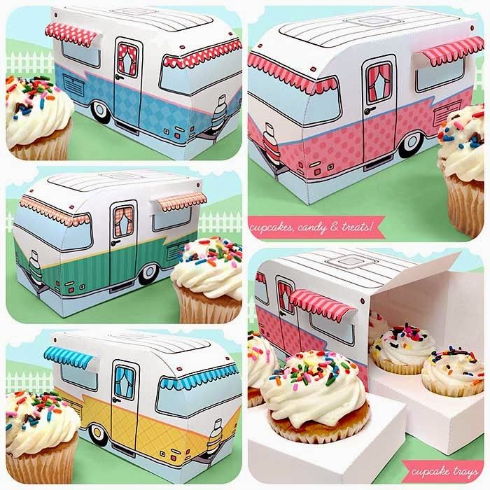 Love these printable camper cupcake holders by Claudine Hellmuth!! So cute! - would be great party favour boxes for a travel or summer themed party!