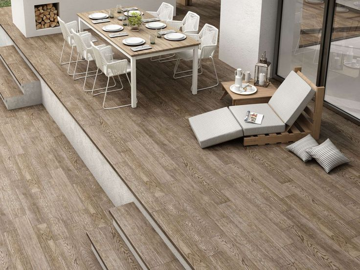 Outdoor in wood effect non slip floor tile supplied by Exto
