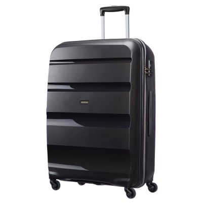 American Tourister 75cm Bon Air Spinner in black. Take on the world with this super strong case.  www.zelows.com.au