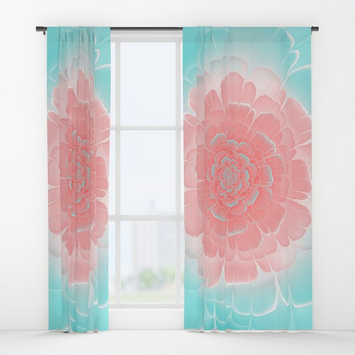 Romantic aqua and pink flower, digital abstracts Window Curtains #OksanaAriskina #Artworks #HomeDecor #FineArtPrints #FineArtAbstract #Fractal #Abstract #ArtForSale #Blue #Pink #Peach #Coral #Flower #society6 #society6art