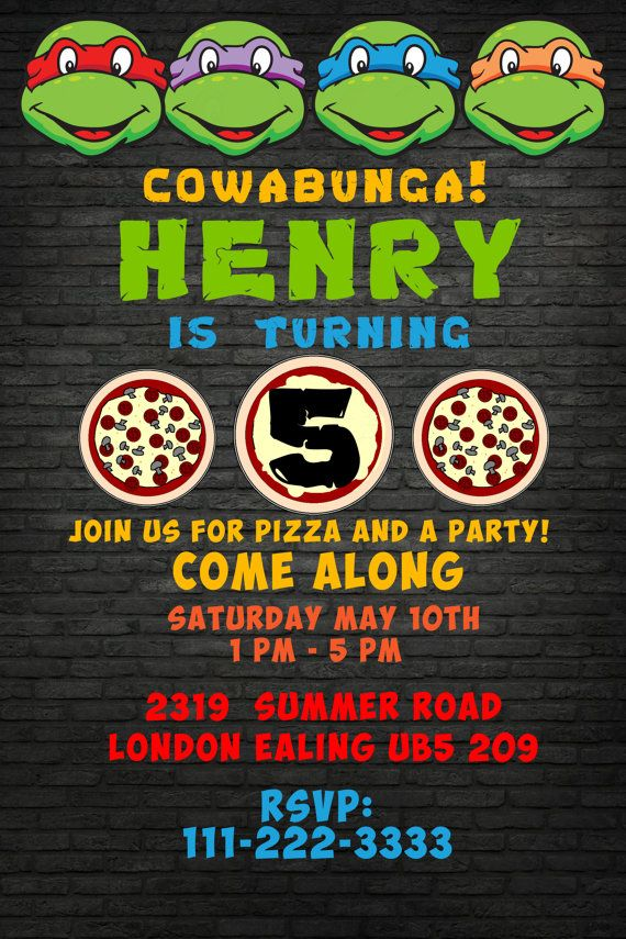 Teenage Mutant Ninja Turtles Pizza Invitation by BumblesDesign