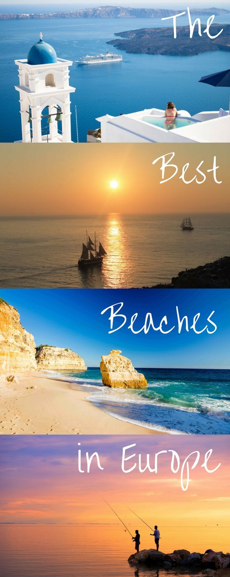 The best European beaches to go on vacation. Beautiful beaches in Greece, Italy, Montenegro, Croatia, and Portugal. These destinations are some of the best trips you can take in your lifetime. Bucket list destinations here!