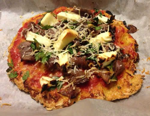 A high protein, gluten free pizza base made without wheat or yeast. http://www.180nutrition.com.au/2012/10/25/paleo-recipes-high-protein-pizza-base/
