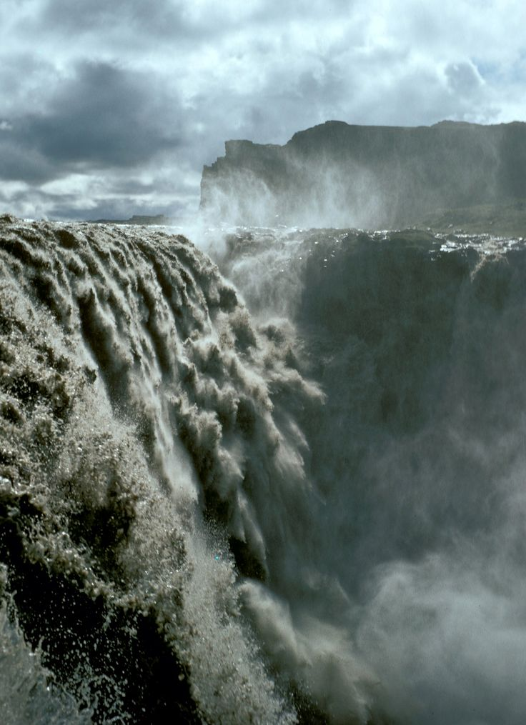 Dettifoss, located in northeast Iceland. It is the largest waterfall in Europe in terms of volume discharge, with an average water flow of 200 m3/second.