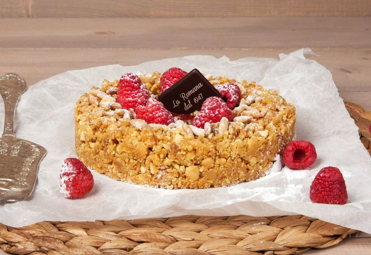 NEW CAKE 2016: Crostatina ai lamponi - Shortcrust honey semifreddo filled with frozen cream, organic raspberry jam and roast pine nuts, with a sprinkling of dusting sugar.