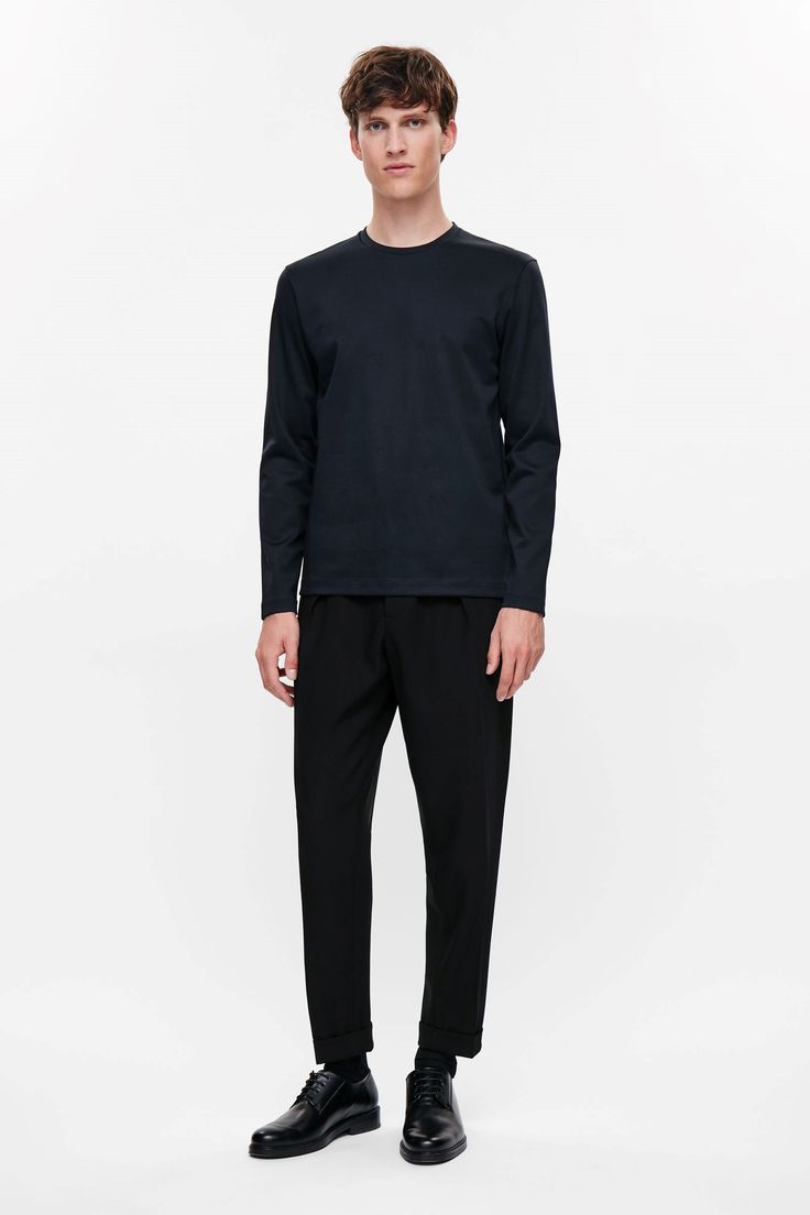 COS image 1 of Long sleeve jersey top in Indigo