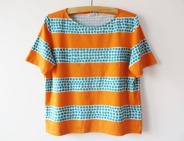 MARIMEKKO Shirt Orange Striped Short Sleeve Shirt Cotton Jersey Blouse Bright Stripes T Shirt Striped Orange Women Top 2XL Large Size Shirt by YourEclecticStreet on Etsy